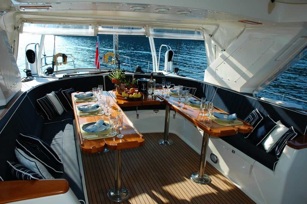 dining area on yacht